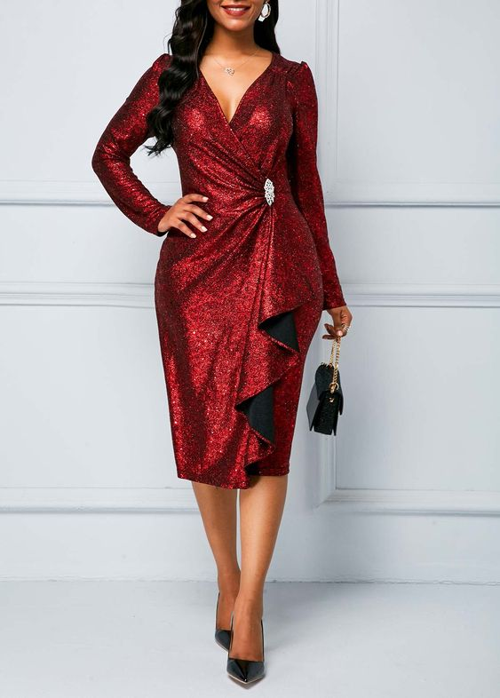 Wine Red Zipper Back Sequin Dress | Rosewe.com - USD $29.76