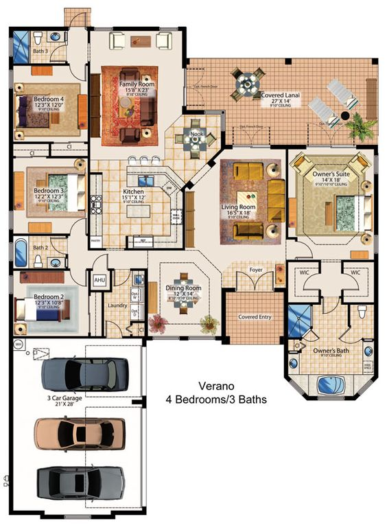 Floor plans floors and family rooms on pinterest House plans with 4 car attached garage