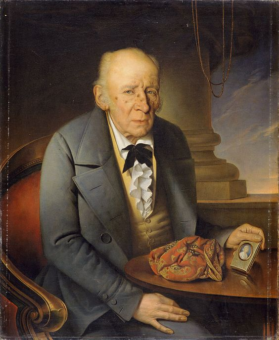 Podoba očeta, 1848 by Giuseppe Tominz (Italian 1790-1866)....an interesting bow tie and other details here, but the poor guy doesn't look long for this world....I guess the portrait he is holding is of his late wife....perhaps the paisley scarf on the table was hers, too.....rather poignant.....: