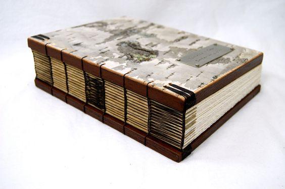 Birch bark wedding guest book personalized by ThreeTreesBindery. $170.00 USD, via Etsy.