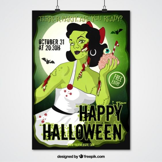 Zombie poster girl for halloween party Free Vector