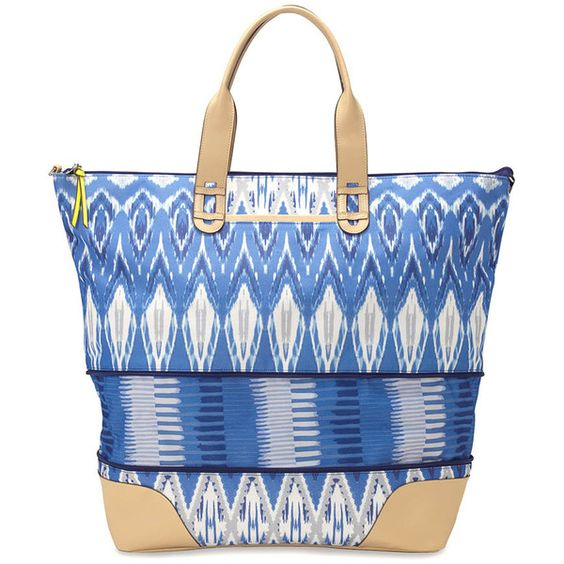 Stella & Dot Getaway ($138) ❤ liked on Polyvore featuring bags, handbags, elephant handbag, overnight bag, ikat handbag, blue handbags and woven purse: