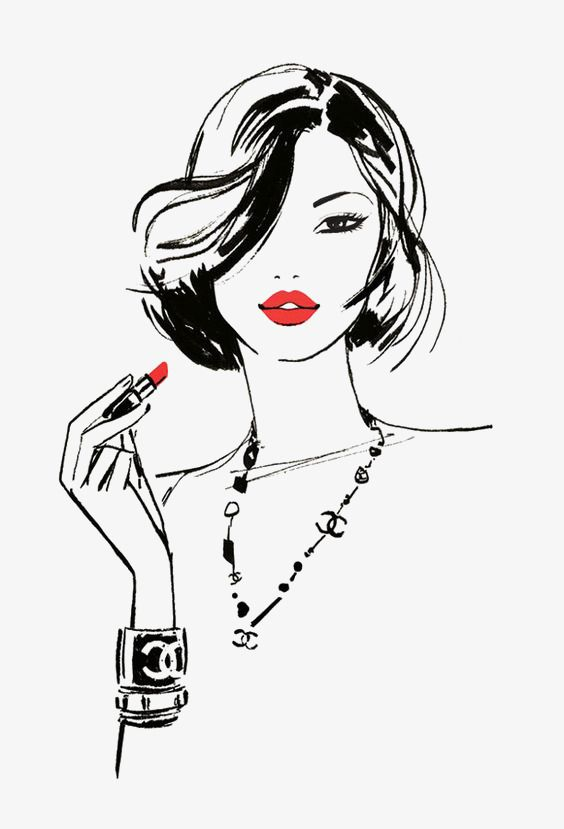 Red Lips Girls In 2020 Beauty Illustration Sketches Fashion