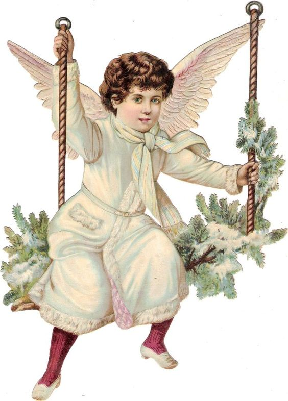 Oblaten Glanzbild scrap die cut Engel XL 28cm angel Winter Schnee XMAS Weihnacht: