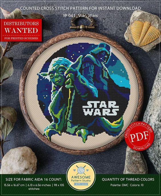 Movie Cross Stitch Kits Stitch Patterns Star Wars Master Yoda #K523 Cross Stitch Kit Needlepoint Counted Cross Stitch Embroidery Kits