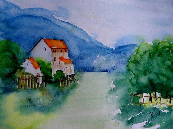 Aquarell Landscht Gebirge Baum Berge Bild Kunst Kaufen Blau
