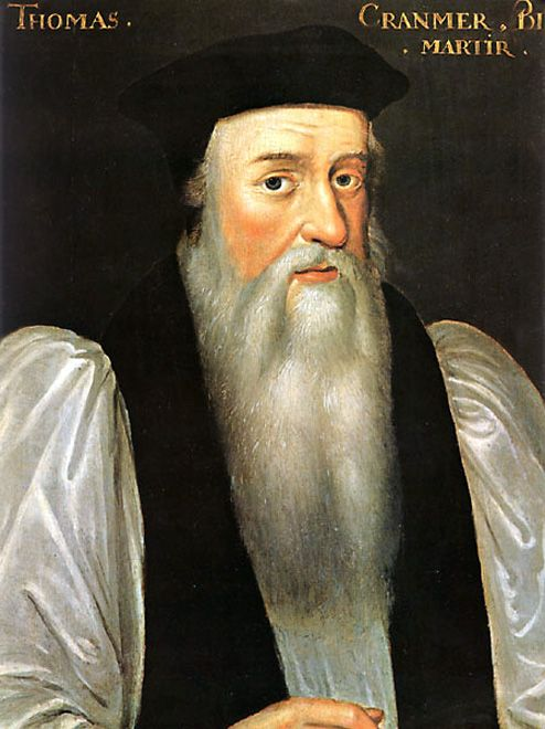 Thomas Cranmer, Archbishop of Canterbury..  He granted the divorce between Henry VIII and Catherine of Aragon.  Was burned at the stake during the reign of Catherine's daughter, Queen Mary I.