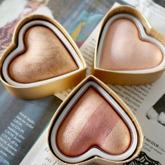 These Makeup Revolution blushing hearts highlighters are so cute!