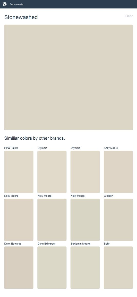 Stonewashed Behr Click The Image To See Similiar Colors By Other Brands Glidden Paint Dunn Edwards Paint Kelly Moore Paint