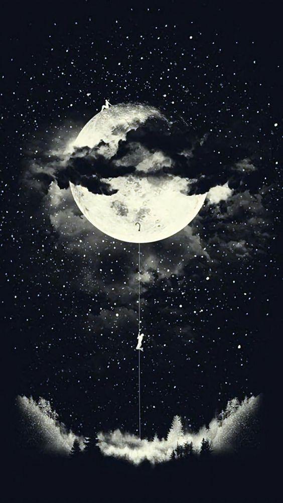 Dreamy Night Moon Art Art Wallpaper Dark Wallpaper
