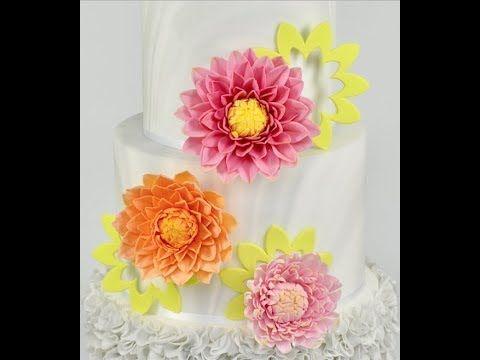 How To Make Sugar Gumpaste Dahlia And A Chrysanthemum Flower Cake Decorations Ceri Badham Youtube Flower Cake Decorations Chrysanthemum Flower Flower Cake