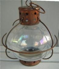 Candle Lantern Nautical Clear Glass Onion Lodge Rustic Garden Pearlized