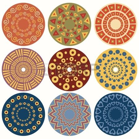 Ethnic round ornamental pattern  Set of nine geometric colorful mandala Illustration