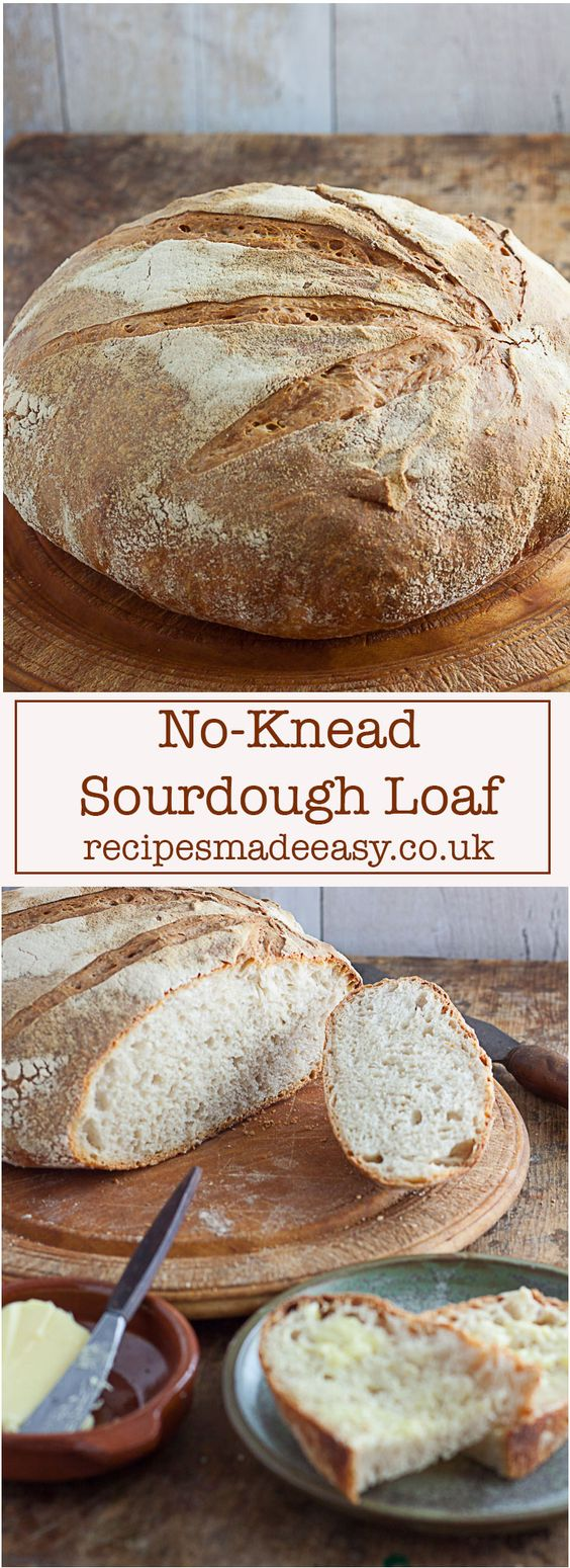 No-Knead Sourdough Loaf