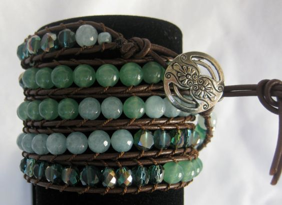 CatMar Beaded Turquoise Wrist Wrap Bracelet by CatMarCreations