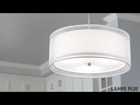 Modern Contemporary White Drum Shade & Crystal Ceiling Chandelier Pendant Lighting Fixture W 18