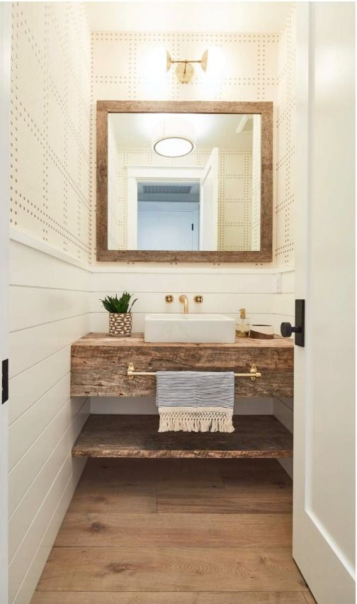 Reclaimed Wood Vanity Shelf With Vessel Sink And Wall Mount Brass Faucet Guest Bathroom Small Bathroom Farmhouse Style Powder Room Vanity