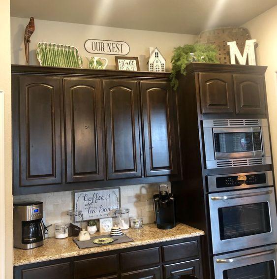 49 Gorgeous Farmhouse Gray Kitchen Cabinet Design Ideas Decorating Above Kitchen Cabinets Kitchen Cabinets Decor Kitchen Decor Signs