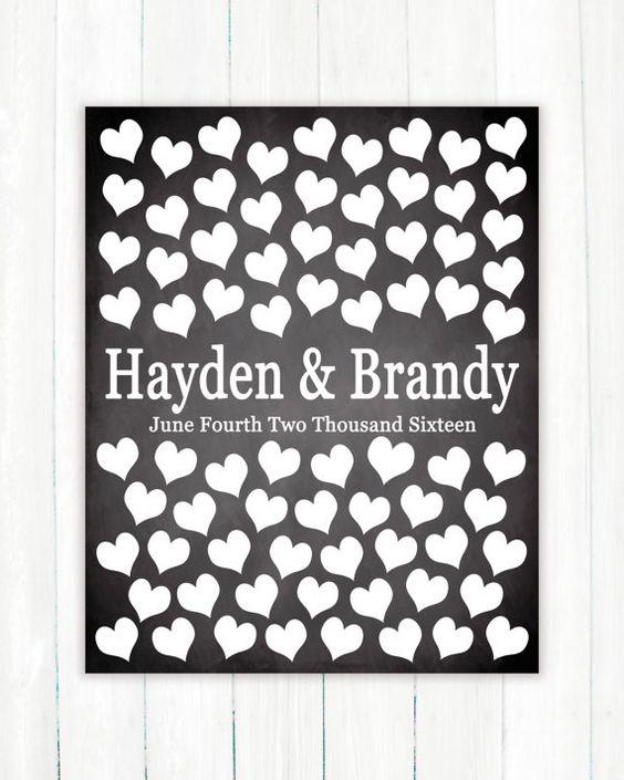 Wedding Guest Book Alternative Art Print, Custom Wedding Chalkboard Background Guest Book Poster, Signature Heart Wedding Guestbook, 75 Guests, Bridal Shower Gift by Caldson Designs