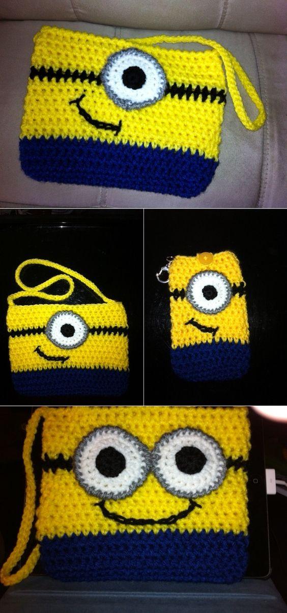 Crochet Minion Bag Pattern : Crochet Minion Purse - DIY Cases, Crochet minions and So ...