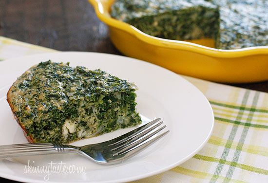 Easy Crust-less Spinach and Feta Pie #pie #vegetarian #dinner #breakfast #spinach #potluck #healthy #lowfat