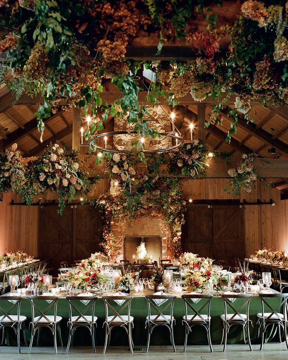 An Elegant, Autumnal Wedding, Martha Stewart Weddings, Brown and bronze, barn