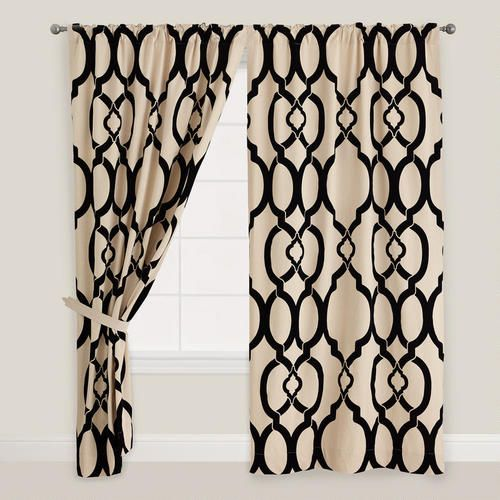 Curtains Ideas cost plus curtains : Black Ethel Flocked Chambray Tab Top Curtain from Cost Plus World ...