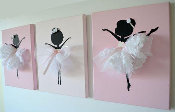 Bailarinas danzas arte de pared. Conjunto de tres por FlorasShop