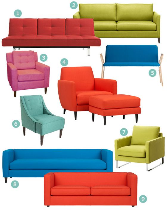 """www.makingitlovely.com-""""Colorblocking for the Home"""", featuring the MELLBY armchair and the IKEA 2012 coffee table and bowls. (click for the full post)"""