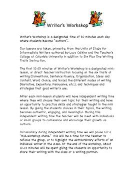 parents about the Writer's Workshop classroom and how Lucy Calkins ...