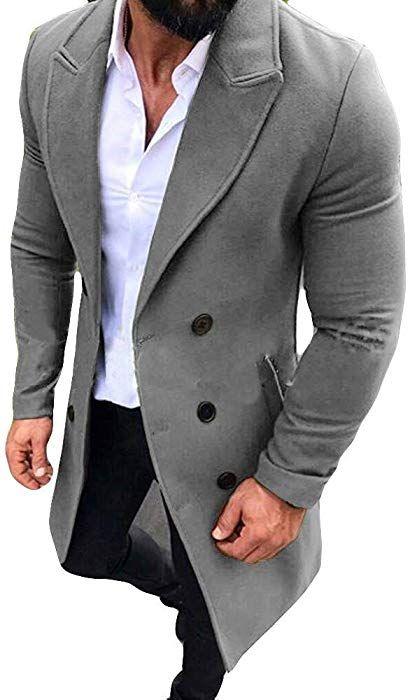 Modisch Herren Mantel Anzug Jacke mit Reißverschluss Stehkragen Top Slim Fit