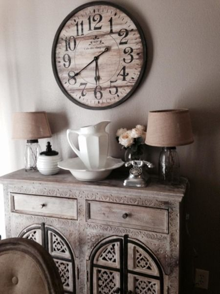 "HGTV fan, Ambyr, writes ""My style is a mixture of french country and rustic. AND I LOVE NEUTRAL colors! This is how I decorated my small buffet in the dining room."""