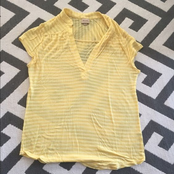 Ella Moss yellow striped open collar top Add brightness to your wardrobe and your day with this EUC Ella Moss top. Subtle yellow on yellow striping. Kind of a faux polo style. Looks great with jeans of any wash! As you can see from the photos, it is see through so it requires a cami underneath. Ella Moss Tops Tees - Short Sleeve