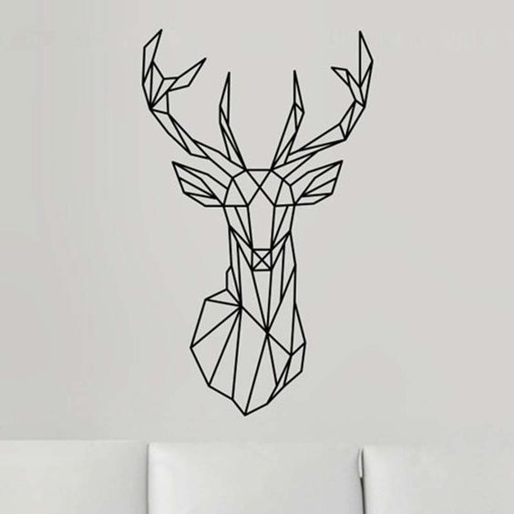 Geometric Deer Head Wall Decal