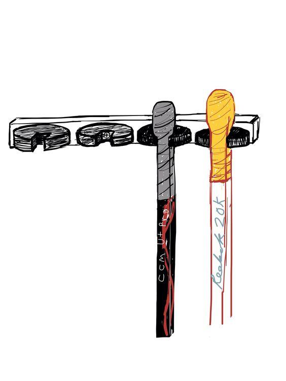 how to make a hockey stick hat rack