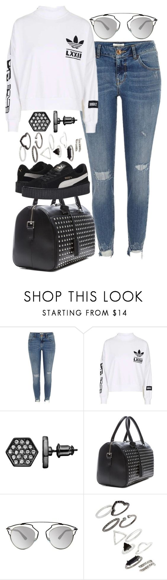 """""""Untitled #1852"""" by sarah-ihab ❤ liked on Polyvore featuring River Island, Simply Vera, Yves Saint Laurent, Christian Dior, Topshop and Puma"""