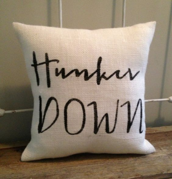 "Burlap Pillow - ""Hunker Down"" - UGA football, Bulldawgs, University of Georgia - Custom Made to Order"