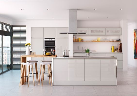 High Gloss Acrylic Cabinet Doors in a Pure White Modern Kitchen.   #modernkitchen #kitchendesignideas