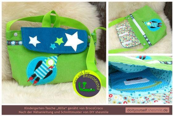 """Kindergarten-Tasche """"Milla"""" genäht von BrocoCroco. Nach der Nähanleitung und Schnittmuster von shesmile, Do it Yourself."""