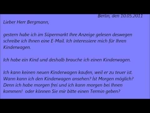 Deutsche Brief A1 A2 B1 Prufung 47 Youtube Brief Deutsch Deutsche Sprache Deutsch Lernen