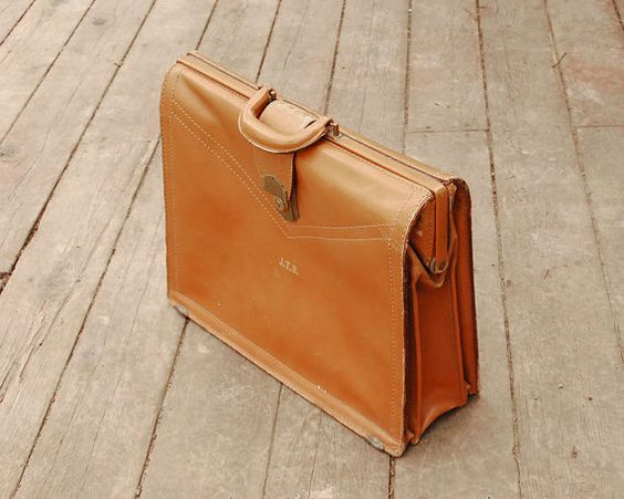 Leather Briefcase Vintage Luggage Laptop Case Document