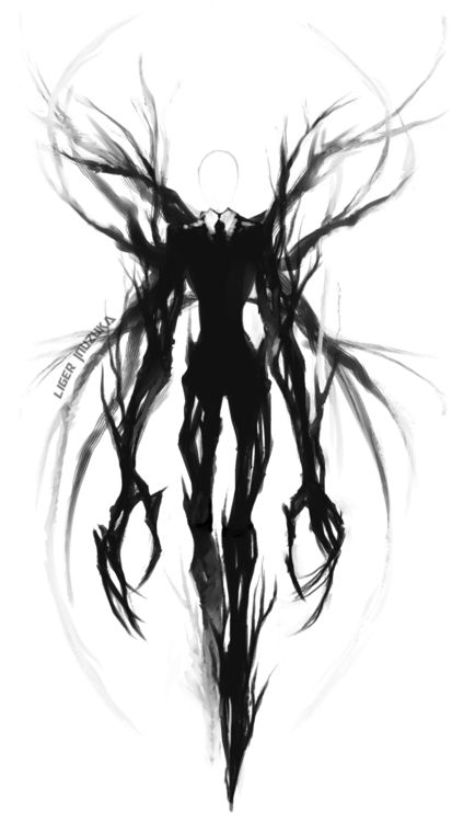 Slender Man will forever be a fear of mine. Good lord.. I pinned this picture because I want the evil creature to look like slender man and I want to capture the raw fear that this creepypasta creature gives off