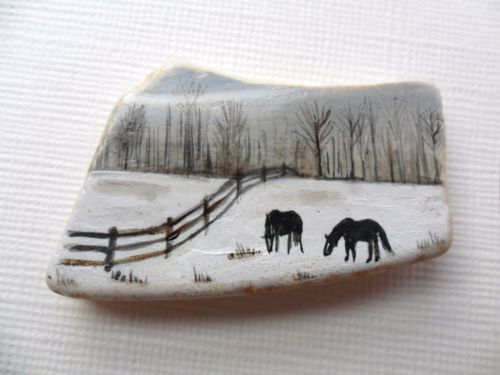 Horses in a winter - tiny painting on sea pottery