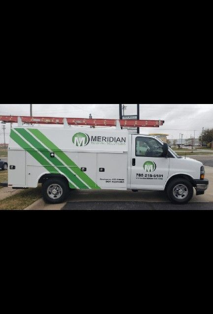 We Made And Installed These Graphics For Meridian Roofing Wesellthose Shannon A Engler Brand Warrior Gm Lbm Channel Letters Topeka Meridian