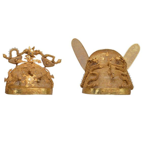 A Pair Of Chinese Wedding Crowns,19th Century | From a unique collection of antique and modern metalwork at http://www.1stdibs.com/furniture/asian-art-furniture/metalwork/