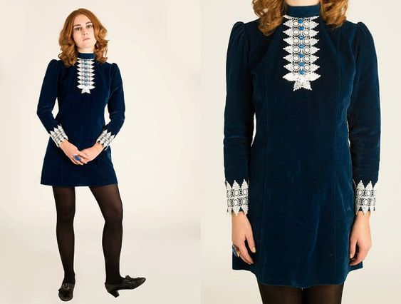 70 s style dresses royal blue