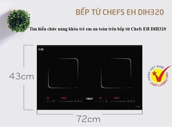 Tìm hiểu chức năng khóa trẻ em an toàn trên bếp từ Chefs EH DIH320