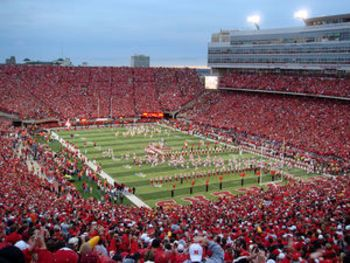 Memorial Stadium, Nebraska Cornhuskers is ranked 14 out of 126 stadiums due to the size, tailgating, sea of red and how loud it can get within the stadium.