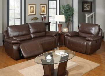 U1027 Brown Bonded Leather Sofa Set With Built-in Recliners traditional sofas