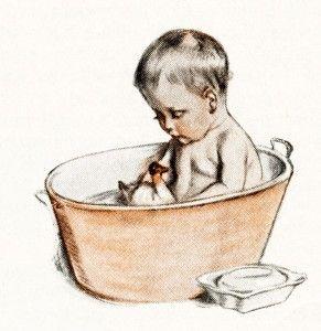 Bathing Baby In Bathroom Tub